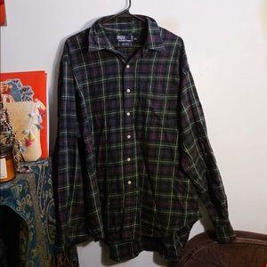 ralph lauren green and navy blue flannel